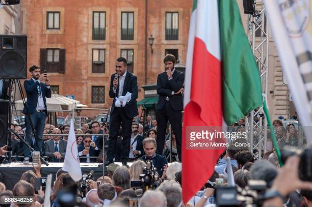Luigi Di Maio Five Star Movement MP speaks flanked at Alessandro Di Battista Five Star Movement MP during the demonstration by the 5 Star Movement in...