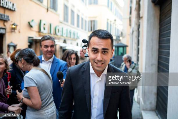 Luigi Di Maio leader of 5Star Movement arrives at Parliament for a briefing on the situation in Syria on April 17 2018 in Rome Italy