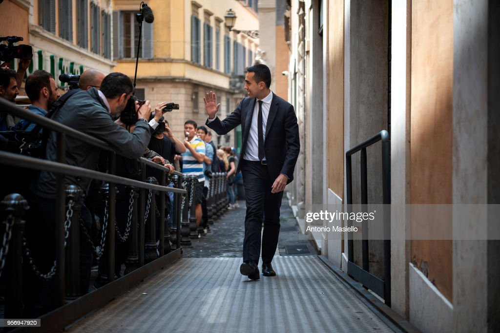 Luigi Di Maio, Leader of 5-Star Movement (M5S) arrives in parliament after a new day of meetings for the formation of the new government on May 10, 2018 in Rome, Italy. Today Lega leader Matteo Salvini and 5-Star Movement (M5S) leader Luigi Di Maio said that they were making progress in talks on the formation of a new government after a meeting at the Lower House. 'Significant steps forward have been made on the composition of the executive and the premier in view of a constructive collaboration between the parties with the aim of deciding everything in a short period of time to give a response and a political government to the country as soon as possible,' a joint statement said.