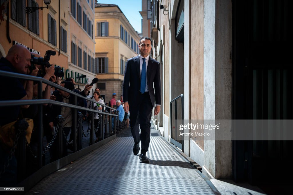 Luigi Di Maio, Leader of 5-Star Movement (M5S) arrives in Parliament for the meeting with Prime Minister designate, Giuseppe Conte and Lega leader Matteo Salvini to prepare a list of ministers for the new government on May 25, 2018 in Rome, Italy.
