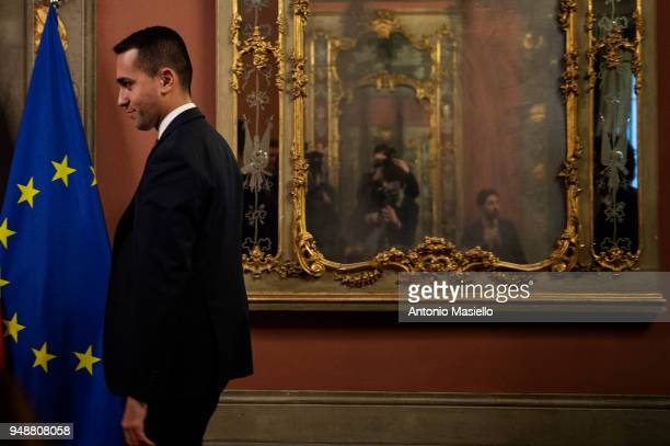 Luigi Di Maio leader of 5Star Movement arrives to speak at a press conference following a meeting with Italian Senate President Elisabetta Casellati...