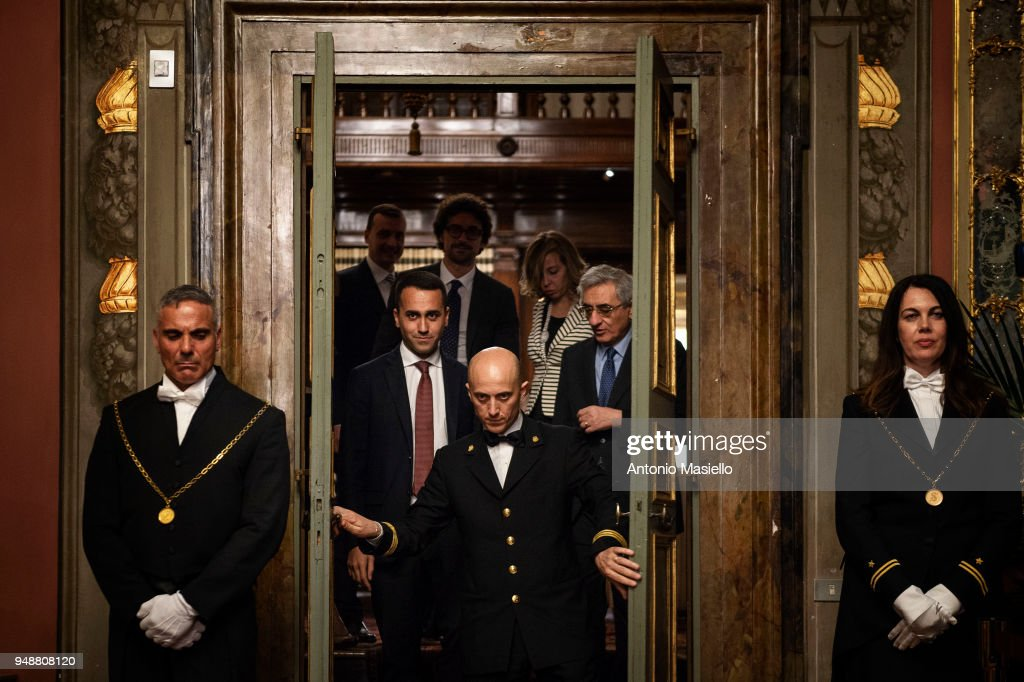 Luigi Di Maio, leader of 5-Star Movement (M5S) arrives to speak at a press conference following a meeting with Italian Senate President, Elisabetta Casellati (not in picture) on the formation of the new government on April 19, 2018 in Rome, Italy.