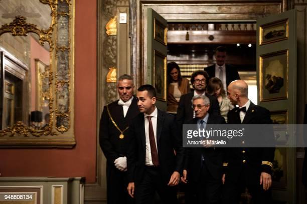 Luigi Di Maio leader of 5Star Movement arrives to speak at a press conference following a meeting with Italian Senate President Elisabetta Casellati...