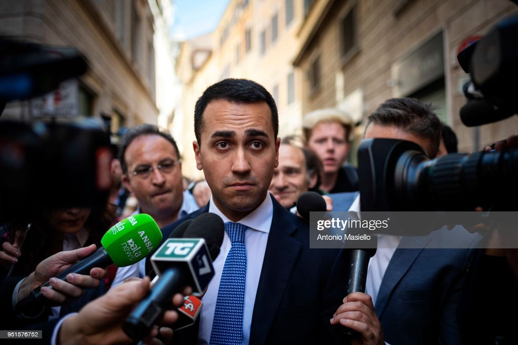 Luigi Di Maio, Leader of 5-Star Movement (M5S) leaves the parliament after a new day of meetings for the formation of the new government on April 26, 2018 in Rome, Italy. Chamber of Deputies President Roberto Fico (not in picture) after a reporting back to Italian President Sergio Mattarella on his exploratory mandate said that dialogue on possible government formation has been started between the anti-establishment 5-Star Movement (M5S) and the centre-left Democratic Party (PD) and now we must await a PD executive meeting on May 3.