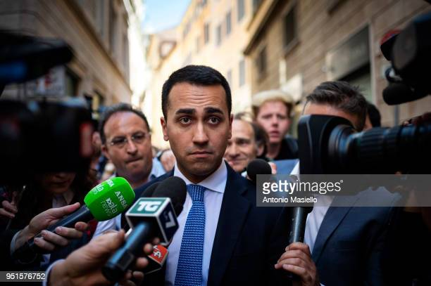 Luigi Di Maio Leader of 5Star Movement leaves the parliament after a new day of meetings for the formation of the new government on April 26 2018 in...