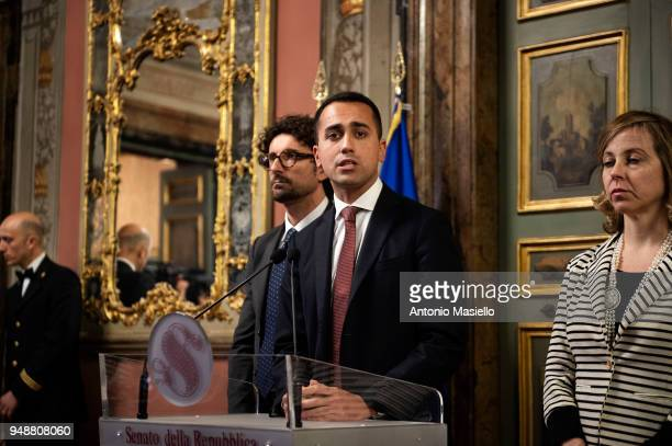 Luigi Di Maio leader of 5Star Movement speaks during a press conference following a meeting with Italian Senate President Elisabetta Casellati on the...