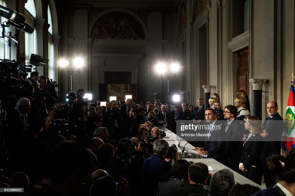 Luigi Di Maio, leader of 5-Star Movement (M5S) speaks to journalists after a meeting with Italian President Sergio Mattarella during the second day of consultations of political parties for the formation of the new government on April 5, 2018 in Rome, Italy.