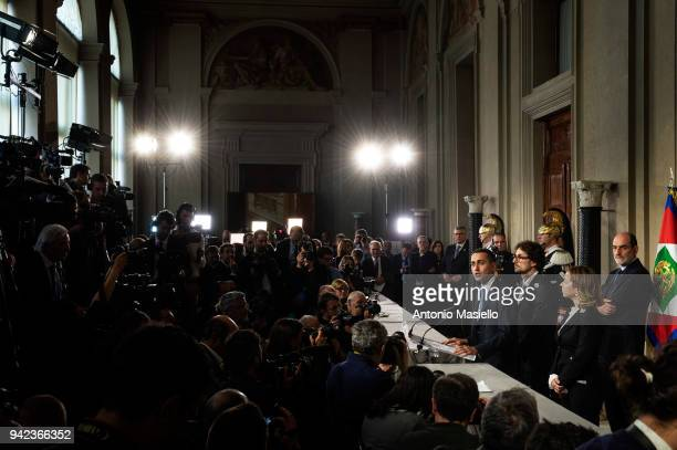 Luigi Di Maio leader of 5Star Movement speaks to journalists after a meeting with Italian President Sergio Mattarella during the second day of...