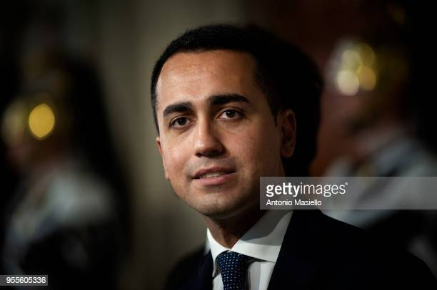Luigi Di Maio Leader of 5Star Movement speaks to the press after a new day of meetings with Italian President Sergio Mattarella on formation of the...