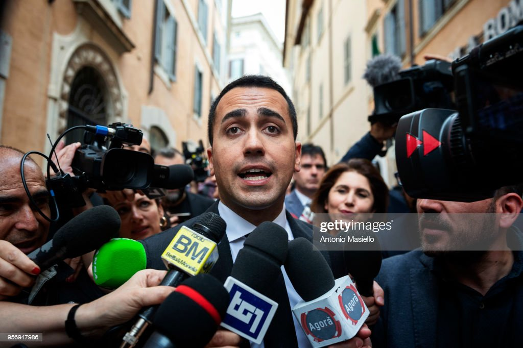 Luigi Di Maio, Leader of 5-Star Movement (M5S) speaks to the press after a new day of meetings for the formation of the new government on May 10, 2018 in Rome, Italy. Today Lega leader Matteo Salvini and 5-Star Movement (M5S) leader Luigi Di Maio said that they were making progress in talks on the formation of a new government after a meeting at the Lower House. 'Significant steps forward have been made on the composition of the executive and the premier in view of a constructive collaboration between the parties with the aim of deciding everything in a short period of time to give a response and a political government to the country as soon as possible,' a joint statement said.