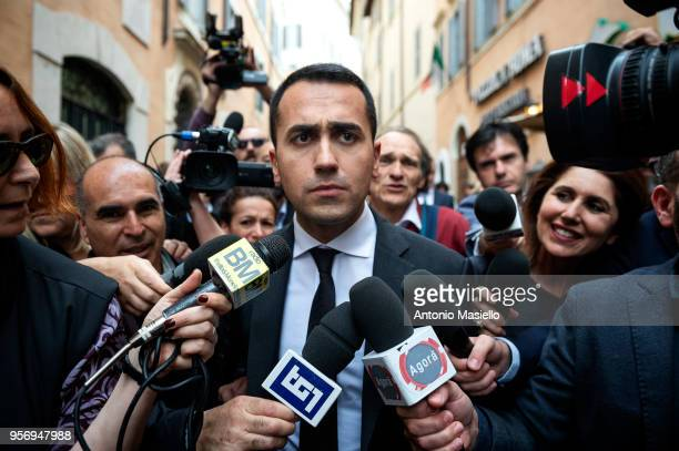 Luigi Di Maio Leader of 5Star Movement speaks to the press after a new day of meetings for the formation of the new government on May 10 2018 in Rome...