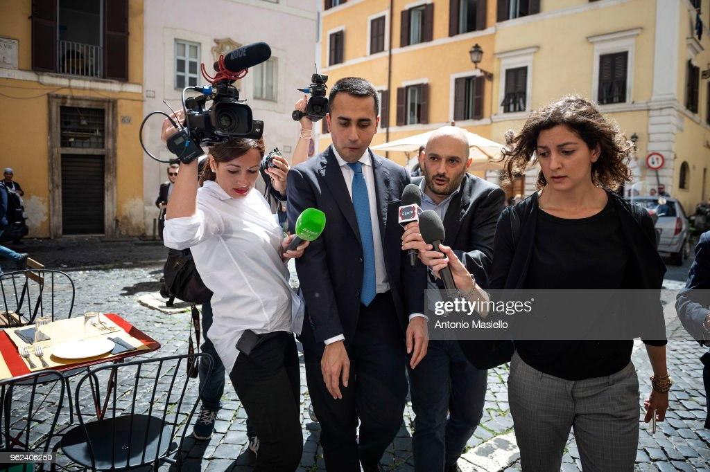 Luigi Di Maio, Leader of 5-Star Movement (M5S) speaks to the press before a meeting with Prime Minister designate, Giuseppe Conte and Lega leader Matteo Salvini to prepare a list of ministers for the new government on May 25, 2018 in Rome, Italy.