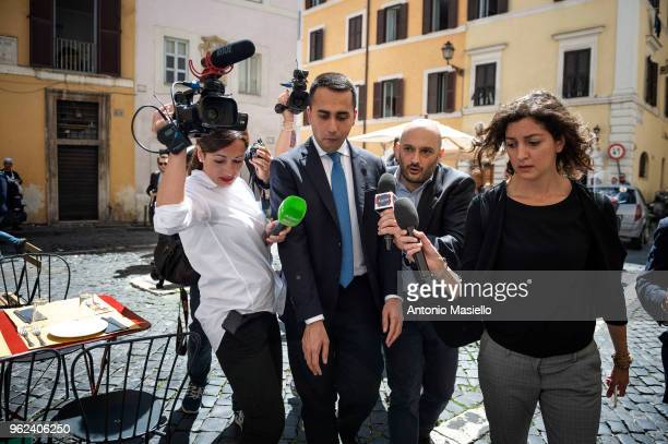 Luigi Di Maio Leader of 5Star Movement speaks to the press before a meeting with Prime Minister designate Giuseppe Conte and Lega leader Matteo...