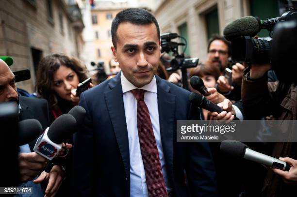 Luigi Di Maio Leader of 5Star Movement speaks to the press during a new day of meetings for the formation of the new government on May 16 2018 in...