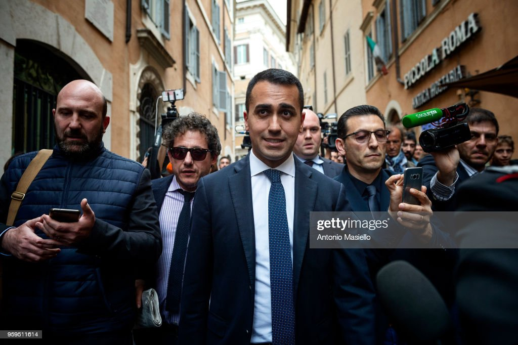 Luigi Di Maio, Leader of 5-Star Movement (M5S) speaks to the press during a new day of meetings for the formation of the new government on May 17, 2018 in Rome, Italy. Today, 5-Star Movement (M5S) leader Luigi Di Maio said that he is confident a deal with the League on the program for a new government will be reached by the end of the day.