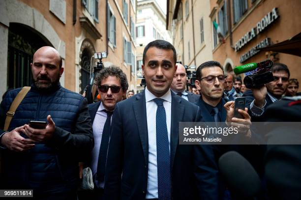 Luigi Di Maio Leader of 5Star Movement speaks to the press during a new day of meetings for the formation of the new government on May 17 2018 in...