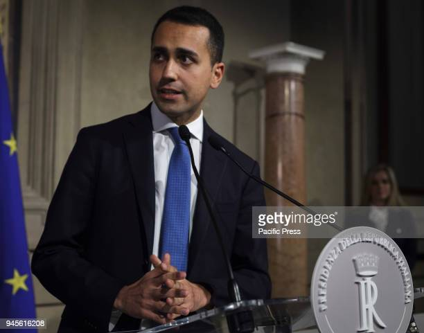 Luigi Di Maio leader of 5Star Movement speaks with journalists after a meeting with Italian President Sergio Mattarella during a second round of...