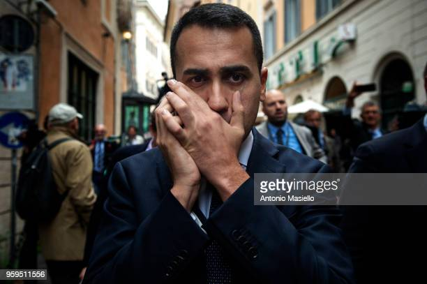 Luigi Di Maio Leader of 5Star Movement talks on the phone during a new day of meetings for the formation of the new government on May 17 2018 in Rome...
