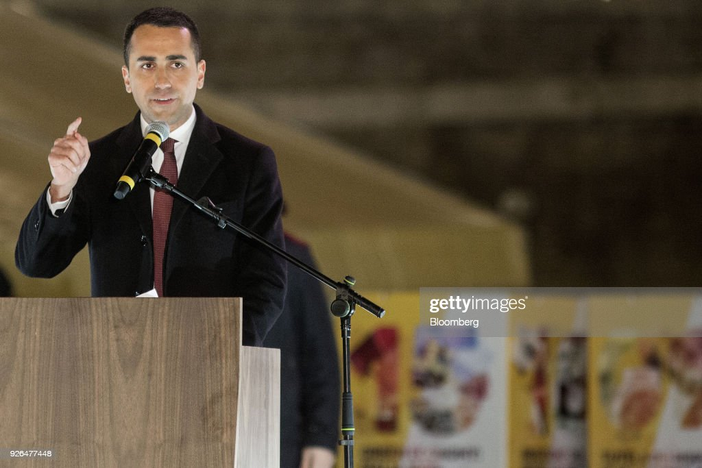 Luigi Di Maio, leader of Italy's anti-establishment Five Star Movement, speaks during a general election campaign rally in Rome, Italy, on Friday, March 2, 2018. Five Star says it will propose university professor Andrea Roventini as economy minister if the movement wins enough votes to form a government in March 4 elections, Di Maio said. Photographer: Alessia Pierdomenico/Bloomberg via Getty Images