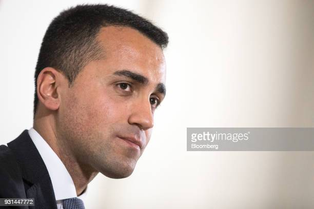 Luigi Di Maio leader of Italy's antiestablishment Five Star Movement pauses during a news conference in Rome Italy on Tuesday March 13 2018 DiMaio...