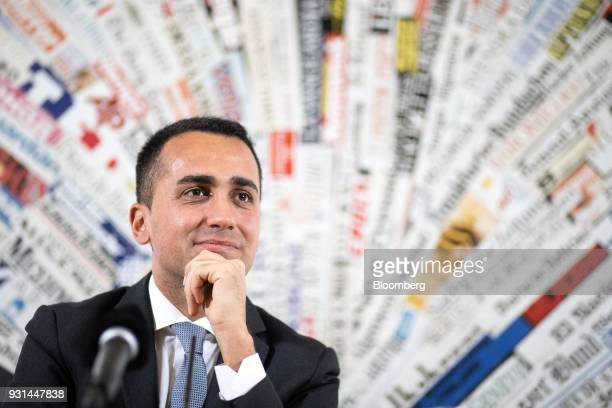 Luigi Di Maio leader of Italy's antiestablishment Five Star Movement pauses at a news conference in Rome Italy on Tuesday March 13 2018 DiMaio...