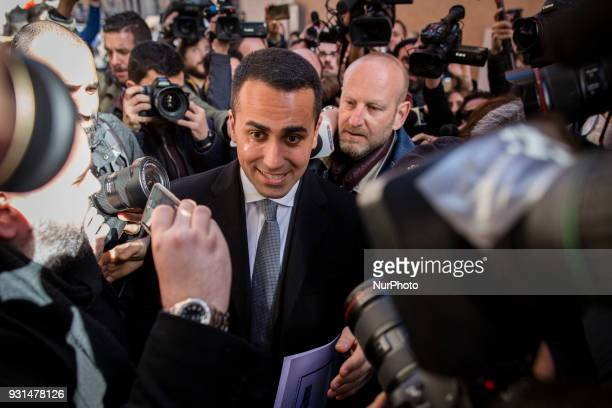Luigi Di Maio leader of Italy's party Five Star Movement arrives for a press conference in Rome Italy on Tuesday March 13 2018 DiMaio insisted...