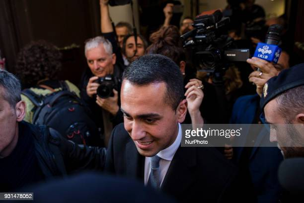 Luigi Di Maio leader of Italy's party Five Star Movement is surrounded by media as he leaves following a news Foreign Press Club in Rome Italy on...