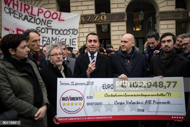 Luigi Di Maio leader of the antiestablishment Five Star Movement speaks during a flash mob during which the movement's councilors from the Piedmont...