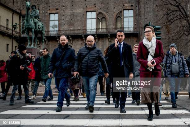 Luigi Di Maio leader of the antiestablishment Five Star Movement walks in central Turin after attending a flash mob during which the movement's...