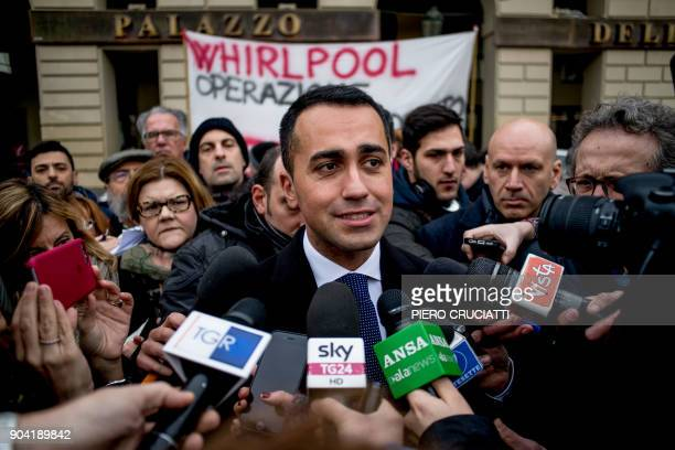 Luigi Di Maio leader of the antiestablishment Five Star Movement addresses the media within a flash mob during which the movement's councilors from...