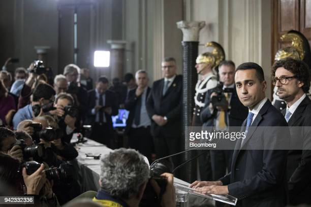 Luigi Di Maio leader of the Five Star Movement pauses while speaking during a news conference following a meeting with Italian President Sergio...
