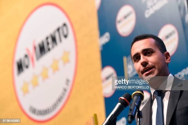 Luigi Di Maio leader of the Italian antiestablishment Five Star Movement gives a speech during a Five Stars rally on February 17 2018 at the Teatro...