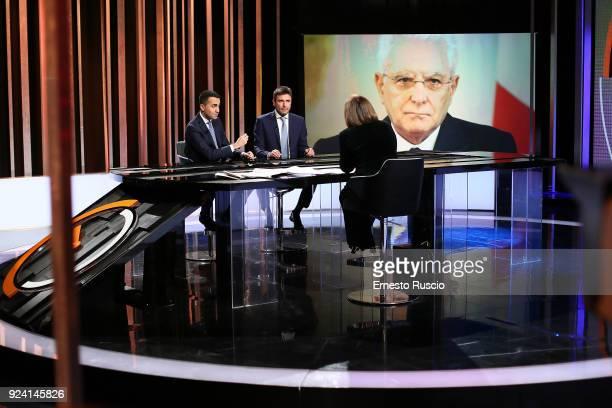 Luigi Di Maio leader of the Italian antiestablishment Five Star Movement and Alessandro Di Battista attend the '1/2 h in Piu' TV Show at RAI on...
