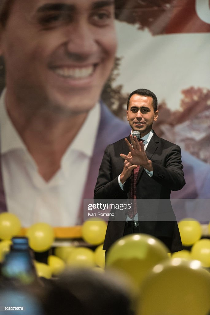Luigi Di Maio on tour after Italian elections, celebrates with his electors the victory of his party. The 5 Star Movement is the first party in both the Chamber of Deputies and the Senate of the Republic, obtaining 32% of the votes and winning in almost all the constituencies of southern Italy. Luigi Di Maio could get the task of the President of the Republic Sergio Mattarella for the formation of the new government on March 6, 2018 in Pomigliano D'Arco, Italy. Italian general elections saw the Five Stars Movement receiving almost a third of votes, closing with a 32%.