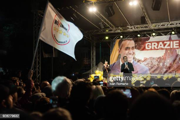 Luigi Di Maio on tour after Italian elections celebrates with his electors the victory of his party The 5 Star Movement is the first party in both...