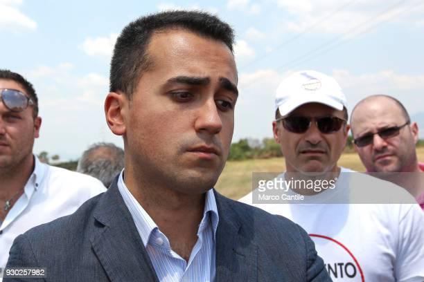 Luigi Di Maio one of the leaders of the italian political Movement 5 Stars during a political meeting in a waste dump