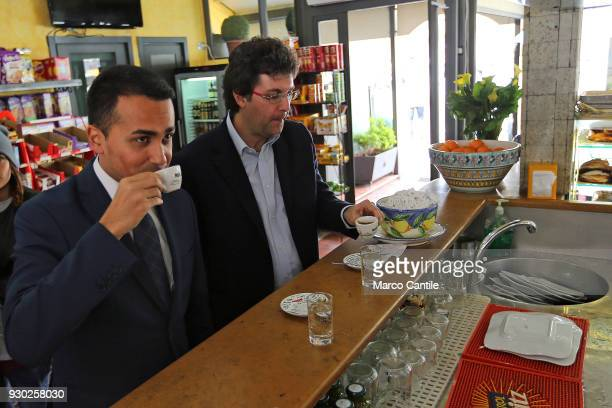 Luigi Di Maio one of the leaders of the italian political Movement 5 Stars hold a cup of coffee at the bar before a political meeting