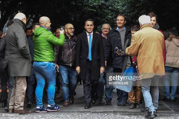 Luigi Di Maio, Premier candidate for the Movimento 5 Stelle party, arrives at the Teatro San Nazzaro in Naples.