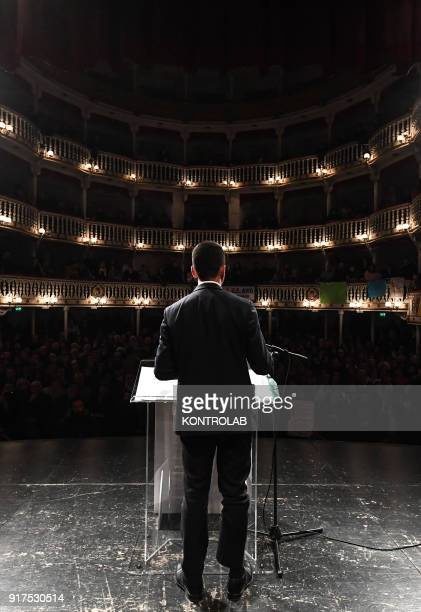 Luigi Di Maio, Premier candidate for the Movimento 5 Stelle party, speaks to the people at the Teatro San Nazzaro in Naples.