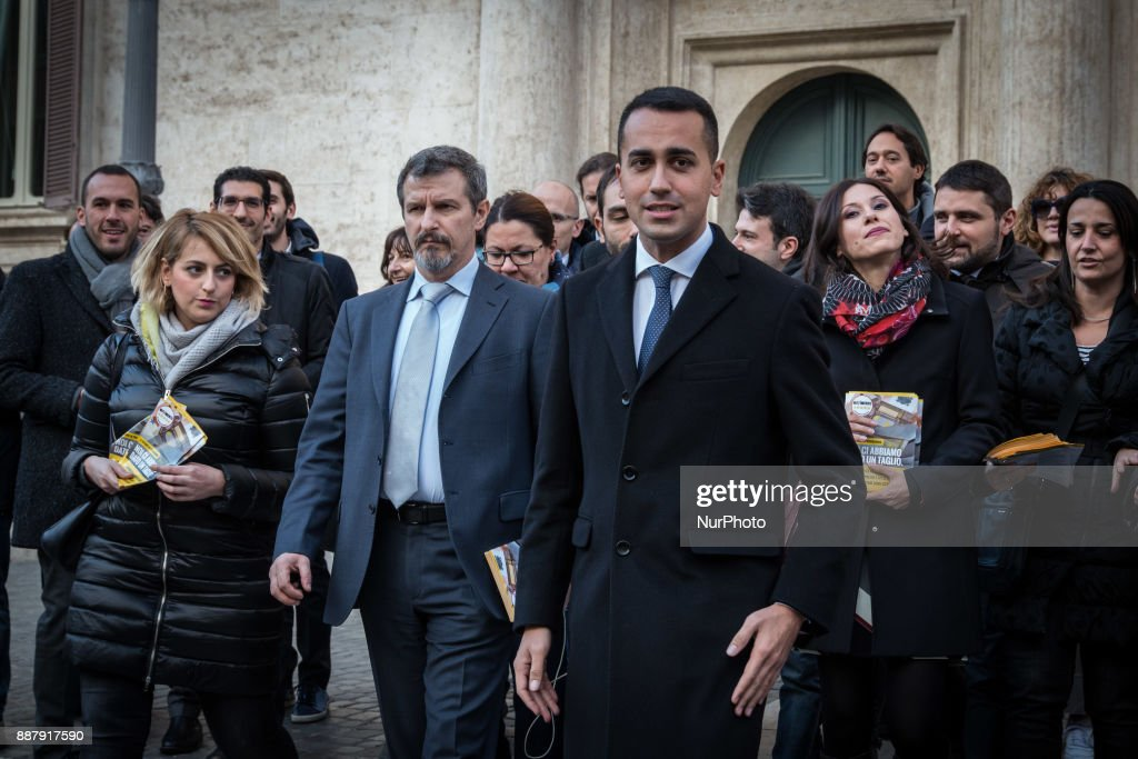 Luigi Di Maio, premier candidate of the 5 Stars Movement, today launched in Piazza Montecitorio in Rome the next election campaign to be held in the early months of next year on December 7, 2017 in Rome, Italy