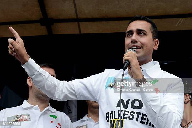 Luigi Di Maio Vice President of the Chamber of Deputies 5 Star Movement speaks during the national demonstration of street vendors against the...