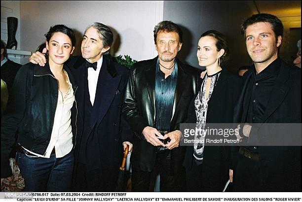 Luigi D'Urso, daughter, Johnny and Laeticia Hallyday and Emmanuel Philibert De Savoie at Inauguration Of Roger Vivier Salon .