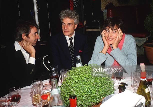 Luigi d'Urso, Thaddeus Klossowski and Ines de La Fressange attend a Private Party at Les Bains Douches in the 1990s in Paris, France.