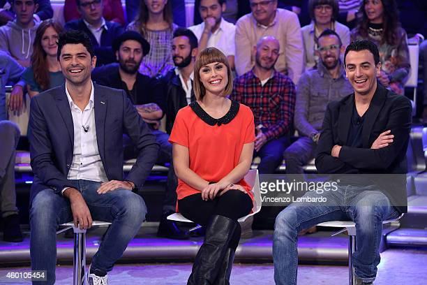 Luigi Esposito Fatima Trotta and Rosario Morra attend the 'Quelli Che Il Calcio' TV show on December 7 2014 in Milan Italy