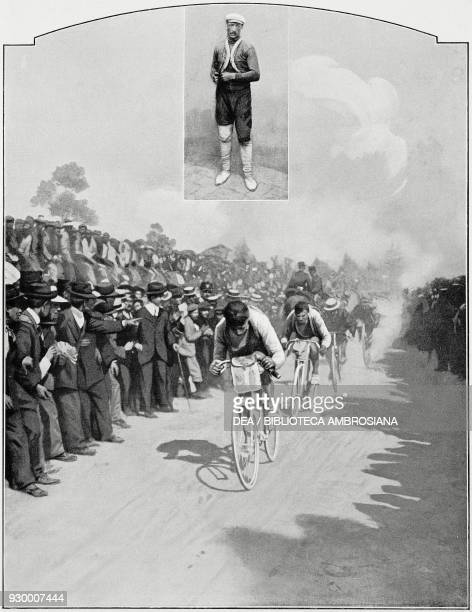 Luigi Ganna winning the stage on arrival in Rome during the first edition of Giro d'Italia, May 20 Italy, photo by Dante Paolocci , from...