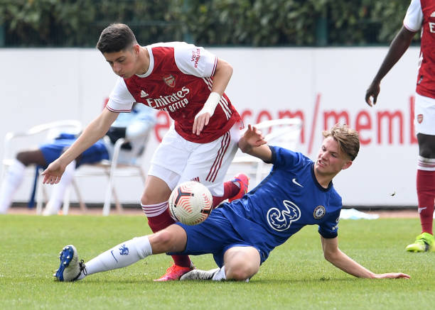 Luigi Gaspar of Arsenal during the U18 Premier League south match between Arsenal u18 and Chelsea U18 at London Colney on April 20, 2021 in St...