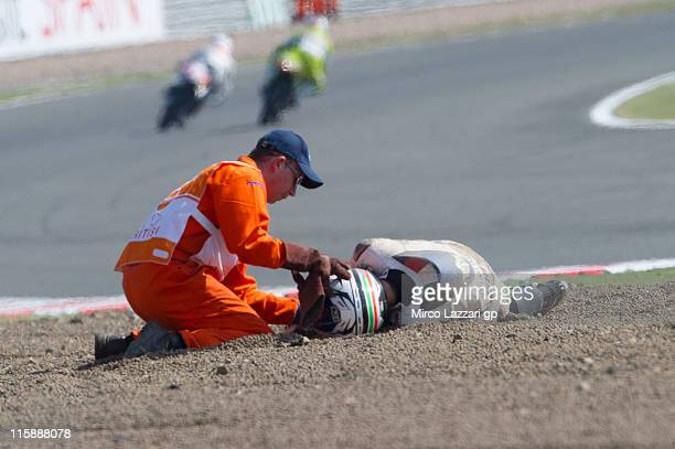 Luigi Morciano of Italy and Team Italia FMI crashed out during the free practice of MotoGP of Great Britain at Silverstone Circuit on June 11 2011 in...
