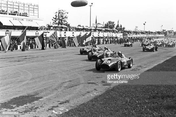 Luigi Musso Eugenio Castellotti Juan Manuel Fangio Ferrari D50 Grand Prix of Italy Autodromo Nazionale Monza 02 September 1956