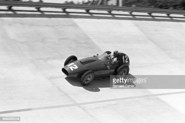 Luigi Musso Ferrari 296 MI Race of Two Worlds Autodromo Nazionale Monza 29 June 1958 Luigi Monza driving the Ferrari 296 MI on the Monza banking