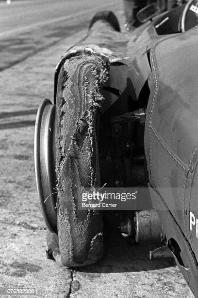 Luigi Musso Ferrari D50 Grand Prix of Italy Autodromo Nazionale Monza 02 September 1956 Luii Musso's Ferrari sufferd fron tyre problems and had to...